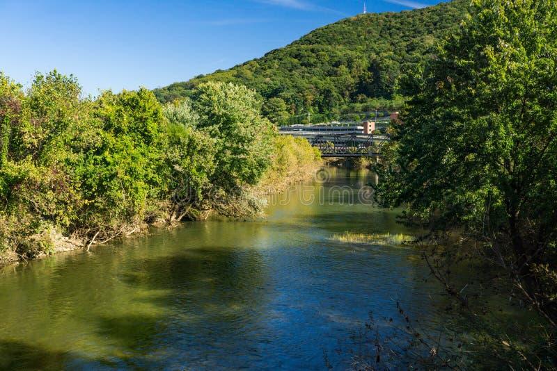 罗阿诺克河、Carilion罗阿诺克纪念医院和磨房山的秋天视图 图库摄影