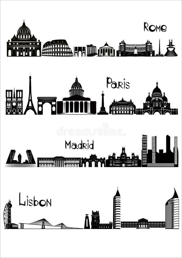 罗马、巴黎、马德里和里斯本, b-w视域  库存例证