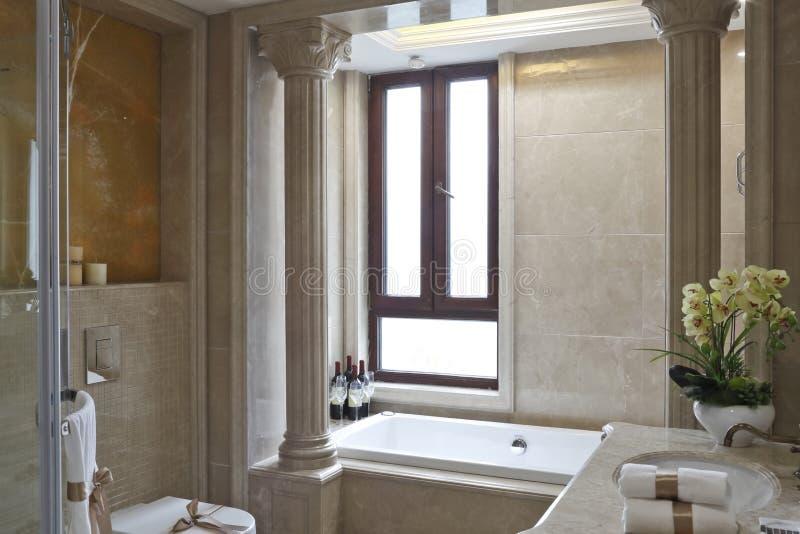 罗马专栏在卫生间里 免版税库存照片