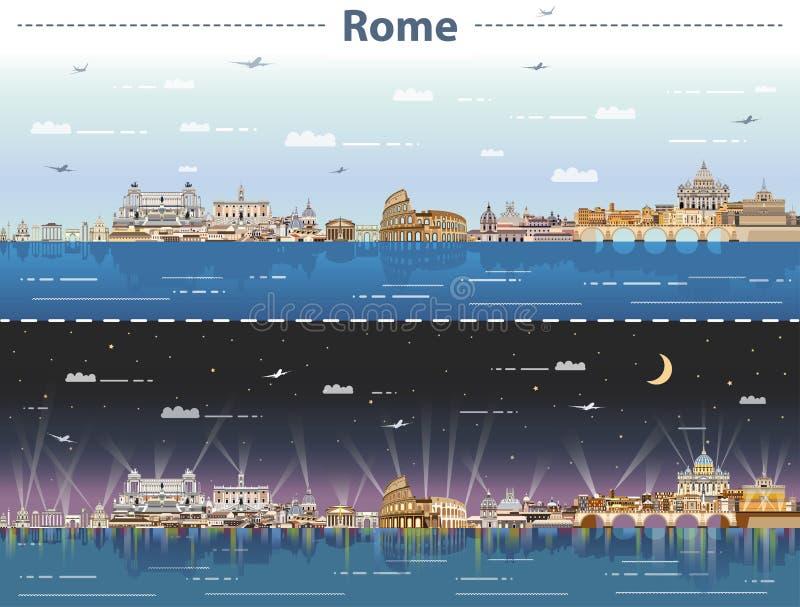 罗马传染媒介地平线在日夜 向量例证