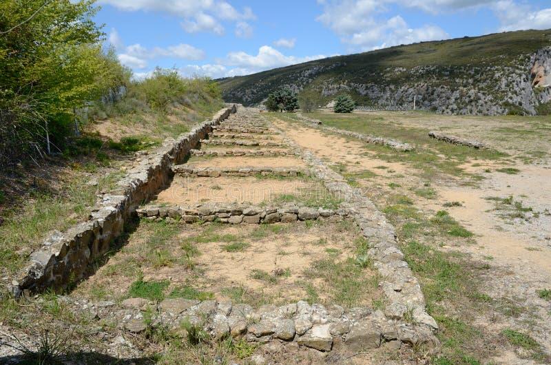 罗马别墅的古老remainings在Navarra 库存照片