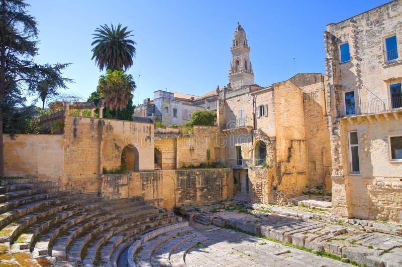 罗马剧院。莱切。普利亚。意大利。 免版税库存图片