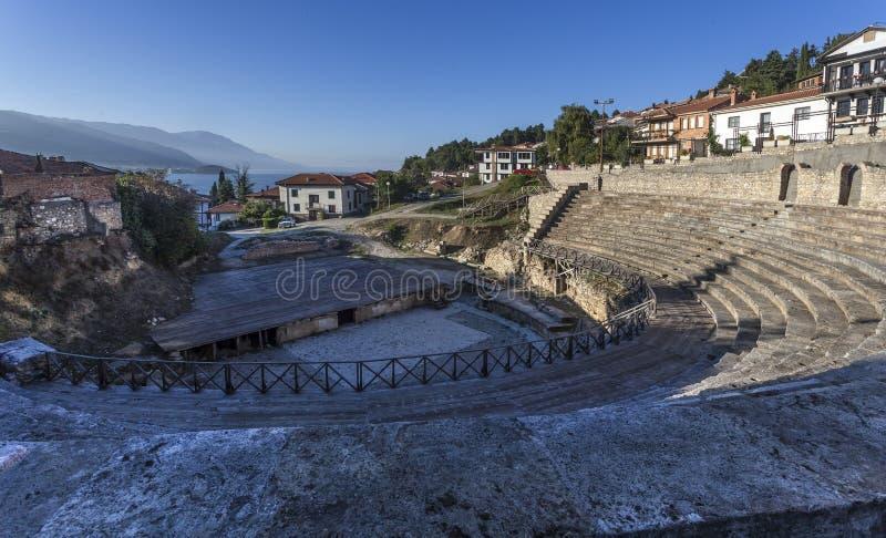 罗马剧院在奥赫里德 免版税图库摄影