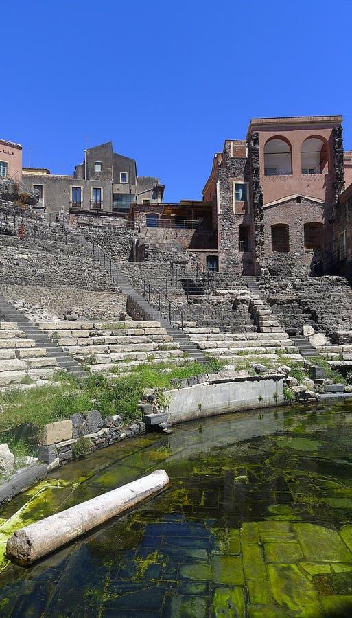罗马剧院,卡塔尼亚,西西里岛 免版税库存图片