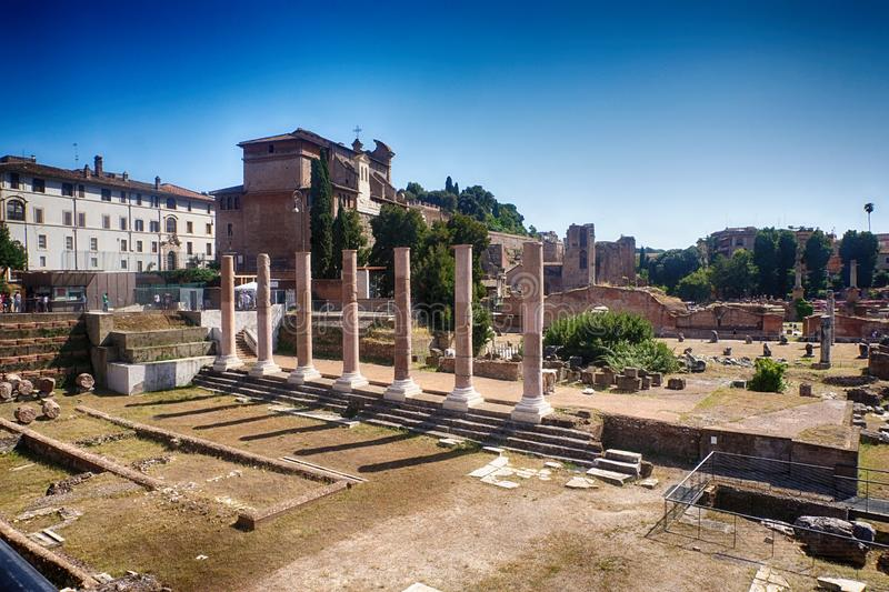罗马古色古香的论坛Romanum的古老中心 E 库存照片