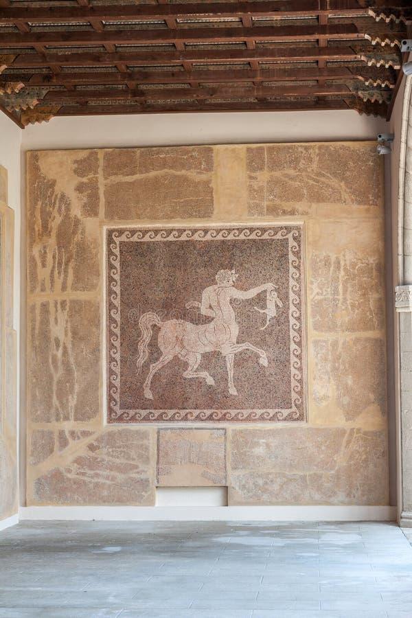 罗马名骑手马赛克罗得岛希腊 库存照片