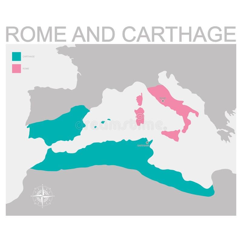罗马和迦太基疆土的地图 向量例证