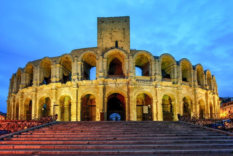 罗马圆形露天剧场在阿尔勒,法国 免版税库存图片