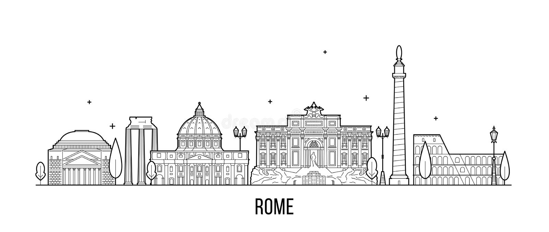 罗马地平线意大利市大厦传染媒介 向量例证