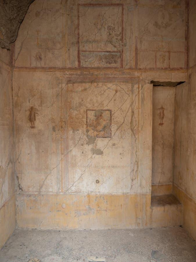 罗马壁画在庞贝城,意大利 世界遗产名录名单 免版税图库摄影