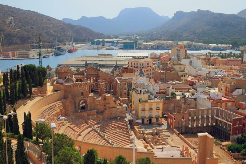 罗马大教堂剧院和废墟  卡塔赫钠西班牙 免版税库存照片