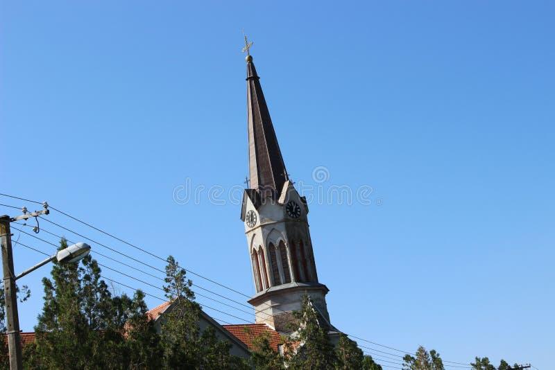 罗马天主教堂的钟楼 免版税库存图片
