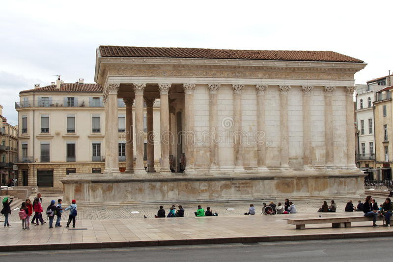 罗马寺庙Maison Carrée, Nîmes,法国 免版税图库摄影