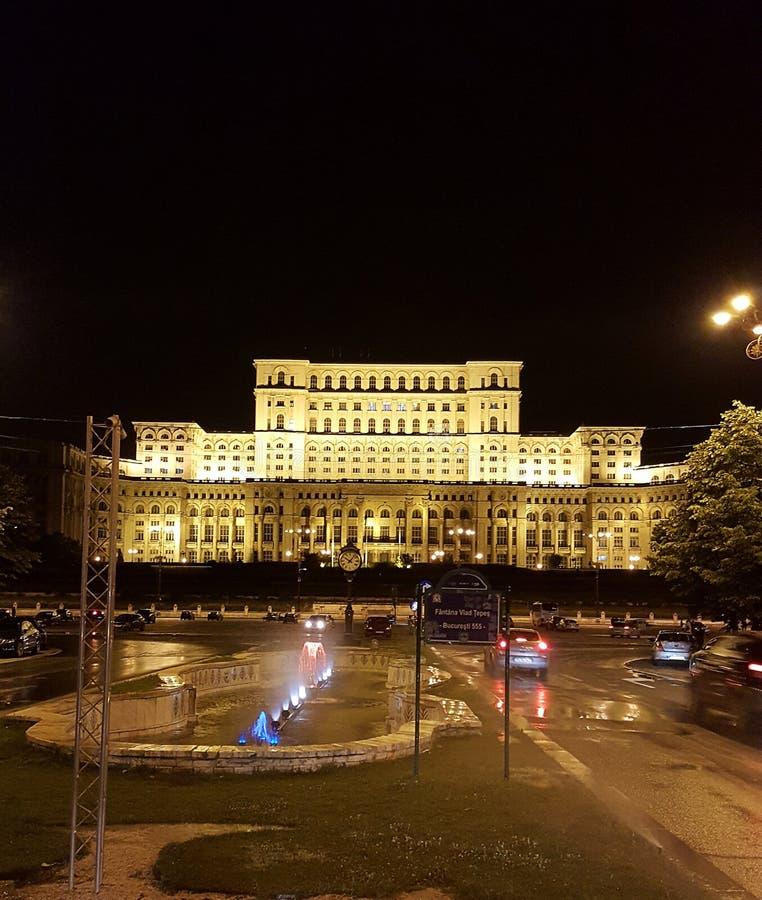 罗马尼亚人民宫在晚上,布加勒斯特,罗马尼亚 免版税库存图片