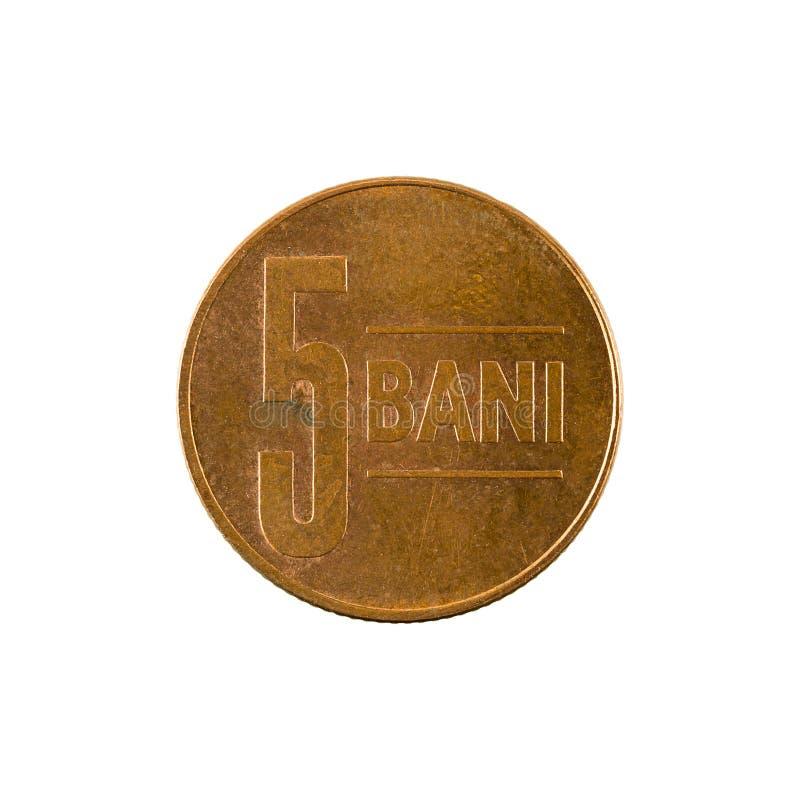 5罗马尼亚人禁令在白色背景隔绝的硬币2005正面 库存照片