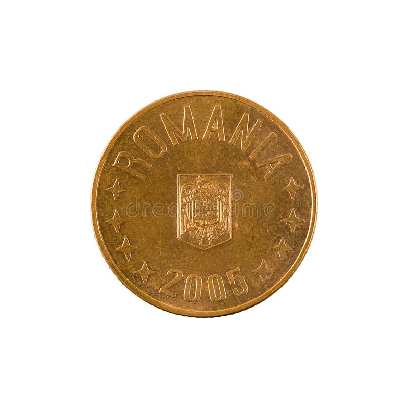 5罗马尼亚人禁令在白色背景隔绝的硬币2005相反 免版税库存照片