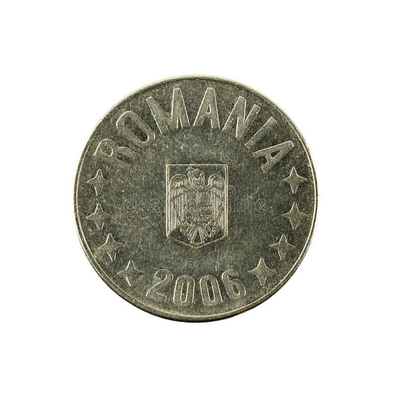 10罗马尼亚人禁令在白色背景隔绝的硬币2006相反 库存照片