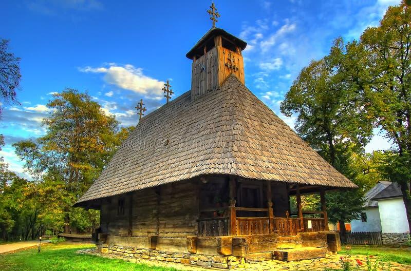 罗马尼亚传统木房子在露天博物馆 免版税库存照片