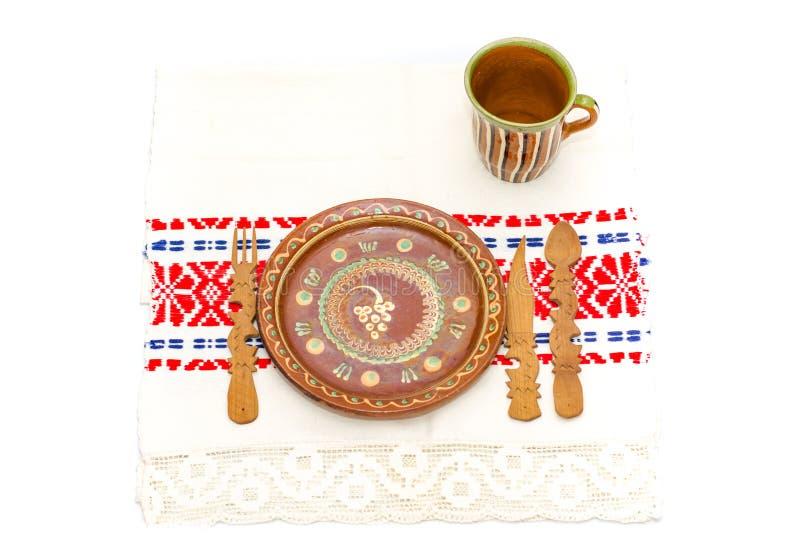 罗马尼亚传统桌安排 免版税库存照片