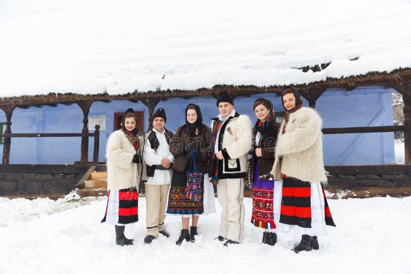 罗马尼亚冬天节日在Maramures 免版税图库摄影