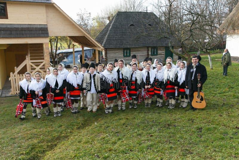 罗马尼亚冬天节日在Maramures 免版税库存照片