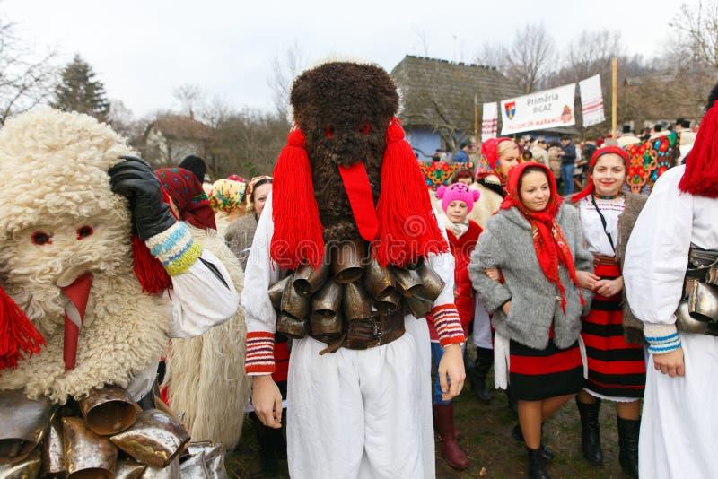 罗马尼亚冬天节日在Maramures 库存照片