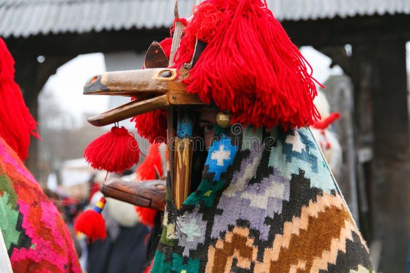 罗马尼亚冬天节日在Maramures 库存图片