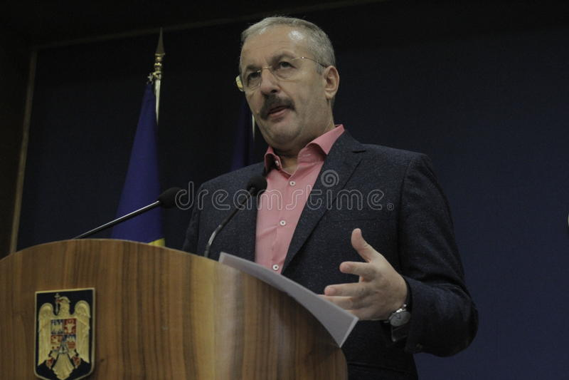 罗马尼亚副总理Vasile Dincu新闻招待会 免版税库存照片