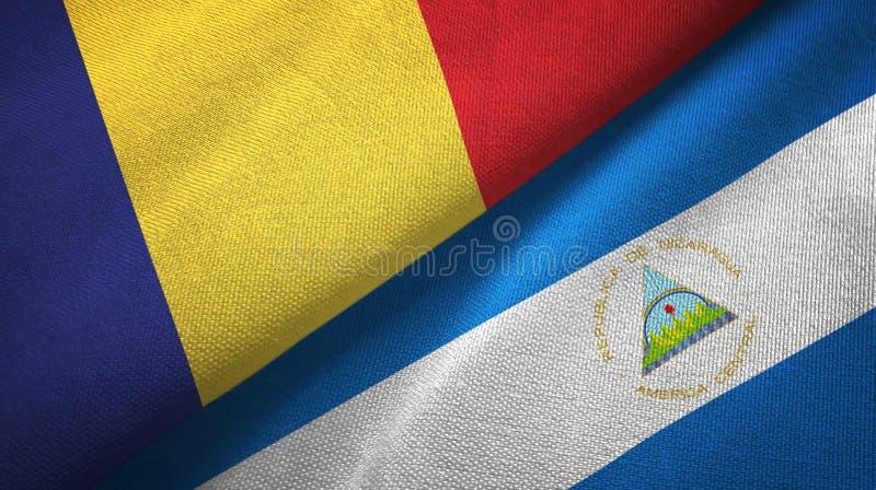 罗马尼亚和尼加拉瓜两旗子纺织品布料,织品纹理 皇族释放例证