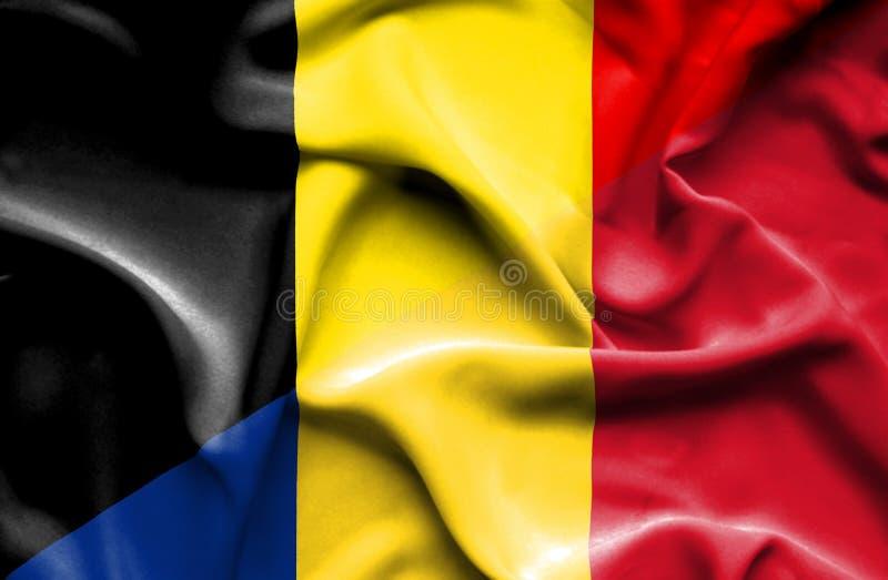 罗马尼亚和比利时的挥动的旗子 库存例证