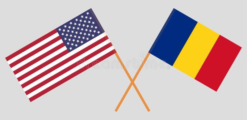 罗马尼亚和美利坚合众国 罗马尼亚和美国旗子 正式比例 正确颜色 向量 皇族释放例证