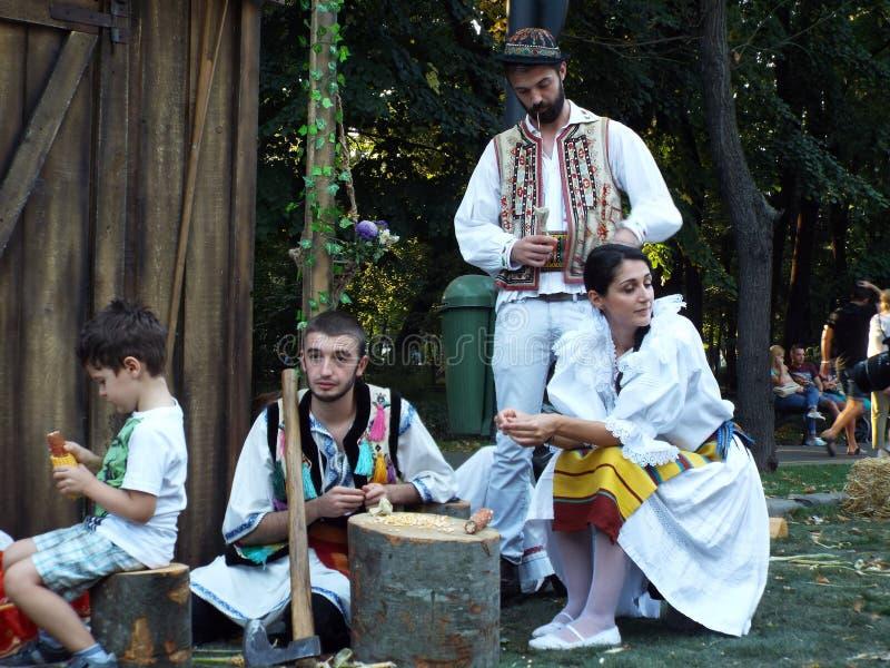 罗马尼亚土气衣裳的美丽的青年人 免版税图库摄影