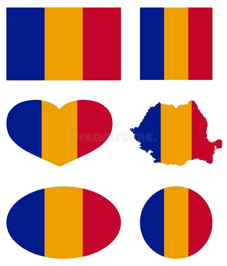 罗马尼亚地图和旗子-主权国家在欧洲 皇族释放例证