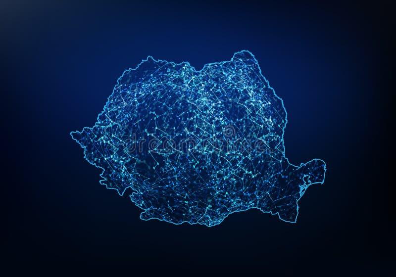 罗马尼亚地图网络、互联网和全球性连接概念,导线框架3D滤网多角形网络线,设计球形摘要  向量例证