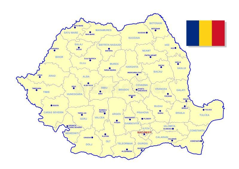 罗马尼亚地图 库存例证