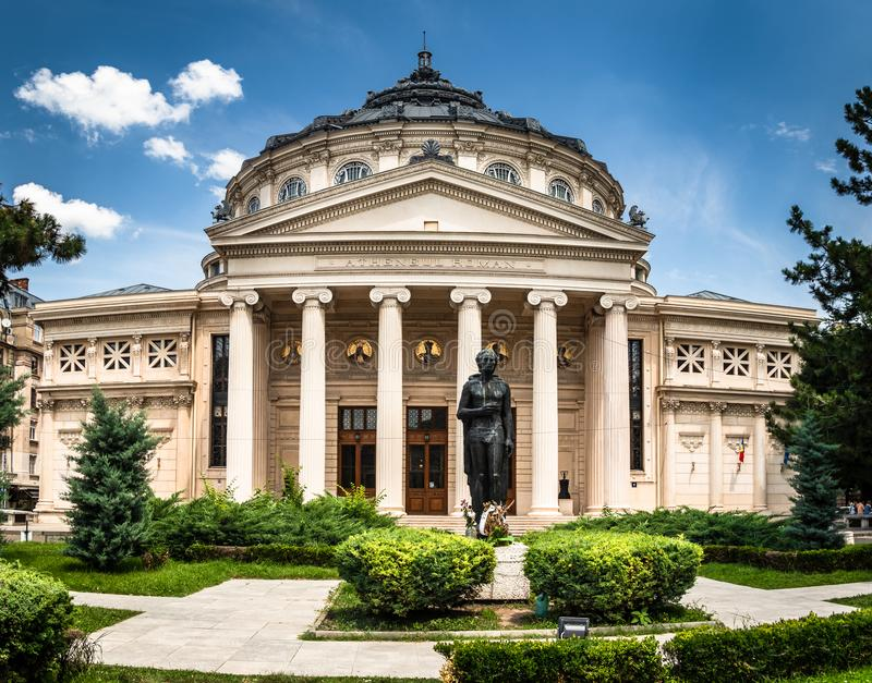 罗马尼亚庙,音乐厅在布加勒斯特的中心 图库摄影