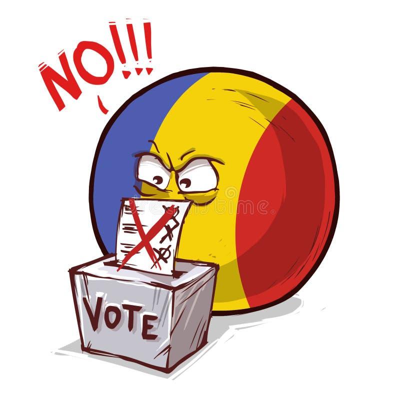 罗马尼亚投反对票国家的球 库存例证