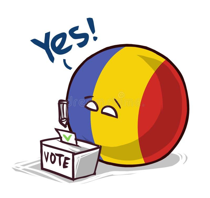 罗马尼亚投赞成票国家的球 向量例证