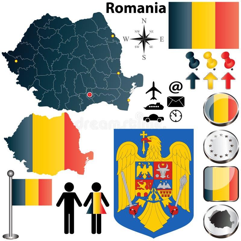 罗马尼亚映射 向量例证