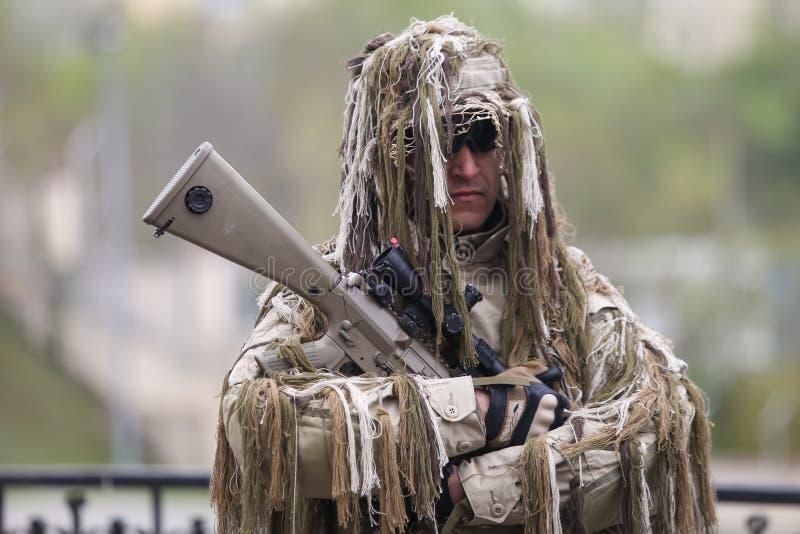 罗马尼亚特种部队士兵参与在军事仪式 免版税库存照片