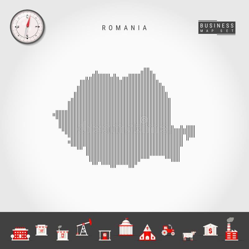 罗马尼亚的传染媒介垂直线地图 罗马尼亚的镶边剪影 现实指南针 r 向量例证