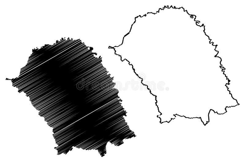 罗马尼亚的博托沙尼县管理部门,诺德Est发展区域地图传染媒介例证,杂文剪影 库存例证