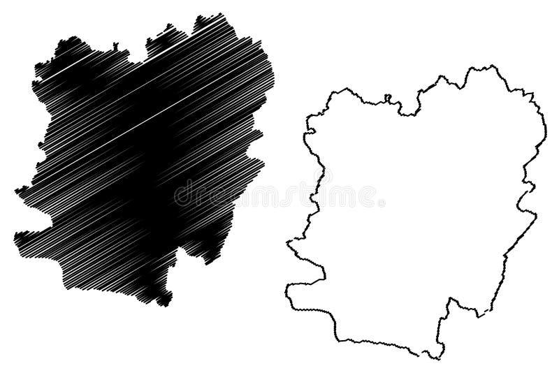 罗马尼亚的卡拉什-塞维林县管理部门,背心发展区域地图传染媒介例证,杂文剪影Caras 皇族释放例证