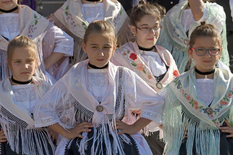 从罗马尼亚的女孩传统德国服装的 免版税图库摄影