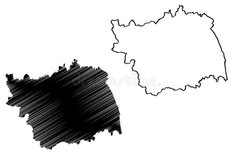 罗马尼亚的巴克乌县管理部门,诺德Est发展区域地图传染媒介例证,杂文剪影巴克乌地图 库存例证