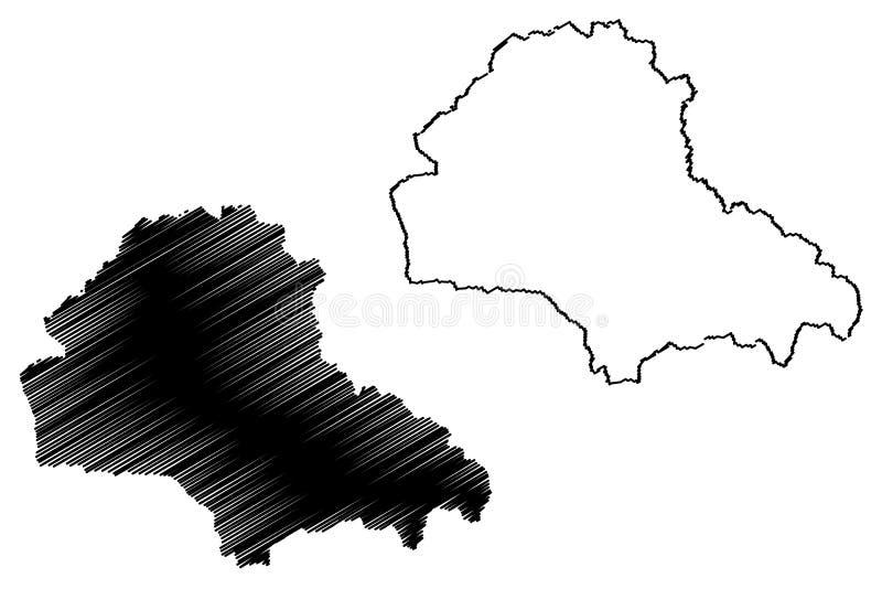 罗马尼亚的布拉索夫县管理部门,Centru发展区域地图传染媒介例证,杂文剪影布拉索夫地图 向量例证