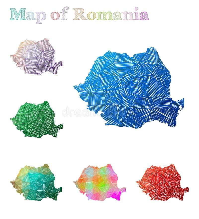 罗马尼亚的手拉的地图 向量例证