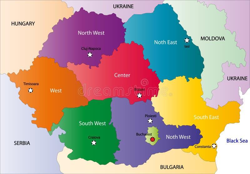罗马尼亚的映射 向量例证