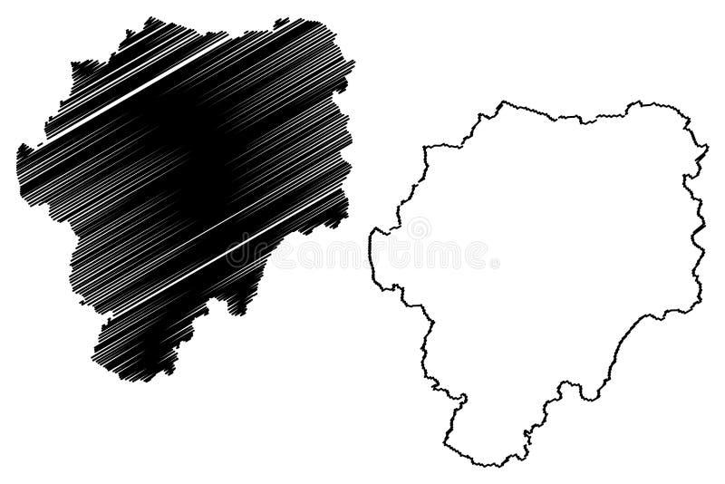 罗马尼亚的比斯特里察-讷瑟乌德县管理部门,诺德背心发展区域地图传染媒介例证,杂文 库存例证