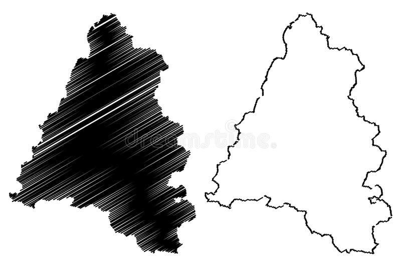 罗马尼亚的比霍尔县管理部门,诺德背心发展区域地图传染媒介例证,杂文剪影Bihor 向量例证